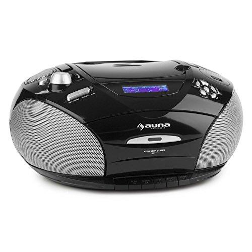 auna RCD 220 Ghettoblaster tragbarer CD-Player (USB-Port, Kassettendeck, UKW-Radio, MP3) schwarz