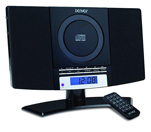 Denver 12120530 Musik-Center (vertikaler CD-Player mit LCD-Display, AUX-In, Wandhalterung, Weckerradio) schwarz