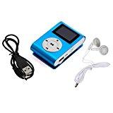 FEITONG Mini USB Clip MP3 Player Musik Player LCD Schirm Kopfhörer Datenkabel Unterstützung 32 GB Micro SD TF Karte (Blau)