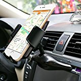 Auto-Halterung, FIDEA® 360-Grad-Drehung Universal-CD Slot Berg Car Mount Air Vent Halter 2-in-1 für iPhone 6S / 6+ 5S, Samsung Galaxy S7 Edge-S6 Edge-Plus-S5 Anmerkung 5 4, LG G5 G4, Google Nexus 5X 6P