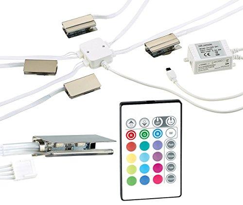 Lunartec Dimmbare LED-Multicolor-Glasbodenbeleuchtung m. Fernbed., 5 W, 4er-Set