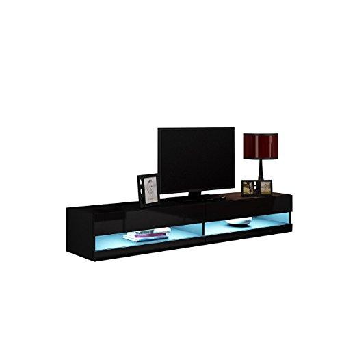 TV Lowboard Vigo New, TV Tische, TV Schrank, Fernsehschrank, Hängeschrank, Hochglanz (mit weißer LED Beleuchtung, Schwarz / Schwarz Hochglanz)