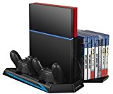 TurnRaise Ladestation mit Lüfter USB für PlayStation 4 PS4 Hub CD Disc DVD Blue Ray Hüllen Stand 14x