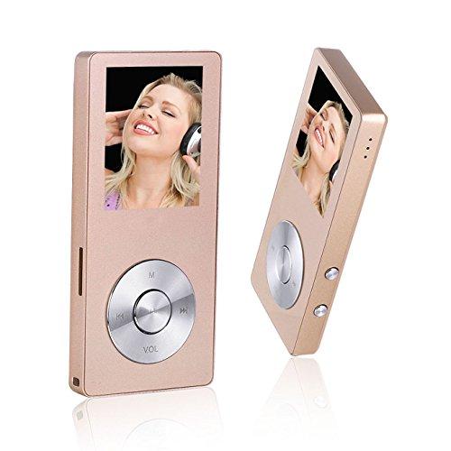 Peficecy Musik-Player, 8GB Hi-Fi Sound Klang Metall MP3-Player, im Lautsprecher eingebaut, mit FM Radio und Diktiergerät-Funktion, Unterstützung Erweiterbar Auf Bis Zu 32 GB (Rosengold)