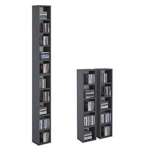CD DVD Regal Ständer Aufbewahrung CHART, in graphit grau mit 10 Fächern für bis zu 160 CDs, 20x186,5 cm (Breite x Höhe)