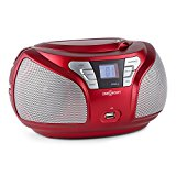 oneConcept Groovie RD Ghettoblaster Boombox (Bluetooth, CD-Player, UKW, AUX, MP3) rot