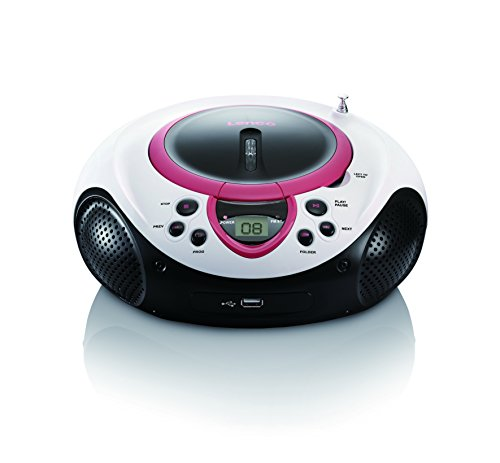 Lenco SCD-38 Tragbares UKW-Radio mit CD/MP3-Player (USB 2.0) pink