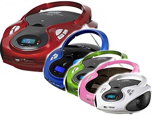 Tragbarer CD MP3 Player USB SD-Card Radio Tragbares Kinder CD-Radio Boombox (Grün)