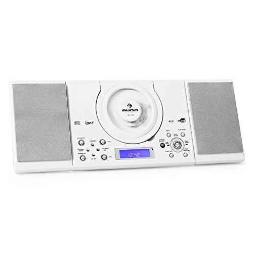 auna MC-120 Stereoanlage Design Microanlage mit CD-Player (MP3-fähig, Radio-Tuner, Wandmontage, Wecker) weiß