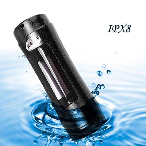 E-Plaza tragbar 4GB Aluminiumlegierung Shell wasserdicht IPX8 MP3 Musik-Player mit FM-Radio und OLED-Display + Armbinde für Unterwasser-Schwimmen Sport Surfing - Schwarzc