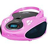 Tragbarer CD MP3 Player USB SD-Card Radio Tragbares Kinder CD-Radio Boombox (Pink)
