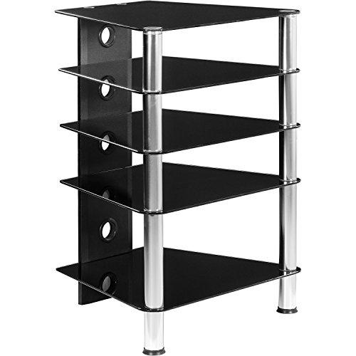 STILISTA® HIFI Rack, 5 Ebenen, Schwarzglas-Optik, 8 mm Sicherheitsglas, Aluminium Tubes, 158,5 x 46 x 50,5 cm