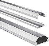 Hama Kabelkanal Alu (Aluminium, eckig, 110 x 3,3 x 1,7 cm, bis zu 5 Kabel), silber