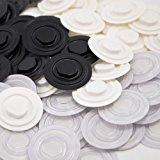 CD Clips zum Kleben | CD-Klebepunkte zum Befestigen von CD, DVD, Blu-ray in Mappen, Ordnern etc. | Schwarz, weiß oder transparent, 50, 100 oder 1000 Stück | Strapazierfähig & zuverlässig / transparent 50 Stück