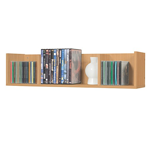 Wandregal Hängeregal Bücherregal CD DVD Regal Rack Badregal in Buche 75 x 18 x 18 cm (Buche)